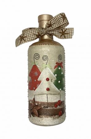 Sticlă decorată manual - Christmas Trees1