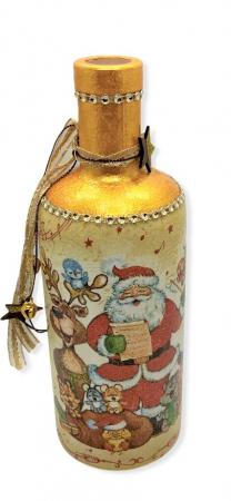 Sticlă decorată manual - Rudolf & Santa0