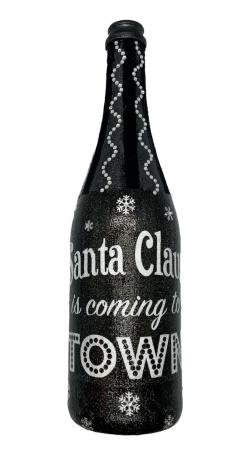 Sticlă decorată manual - Santa is coming0