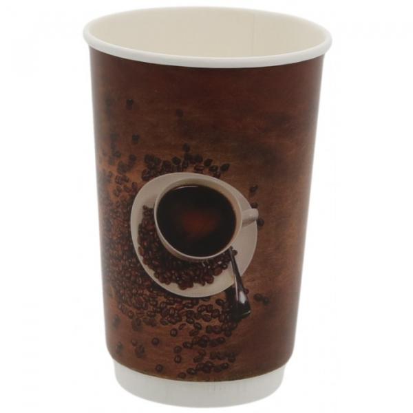 Pahare carton perete dublu policromie, I love coffee, 16OZ 0
