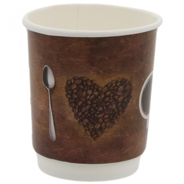 Pahare carton perete dublu policromie, I love coffee, 8OZ 0