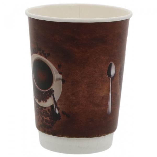 Pahare carton perete dublu policromie, I love coffee, 14OZ 0