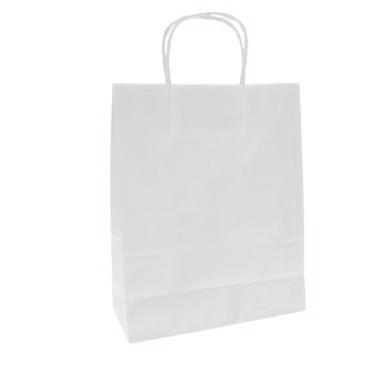 Punga hartie KRAFT alb pentru cumparaturi 0