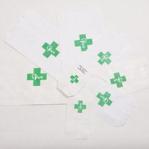 Pungi kraft alb FARMCIE, tiparit cruce verde, 8.5x15 cm 0