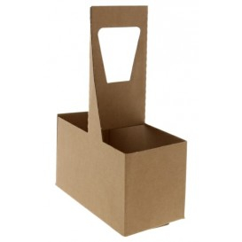 Suporti pahare carton cu MANER, kraft natur 2 locasuri (20 BUC/SET, 200 BUC/BAX) 0