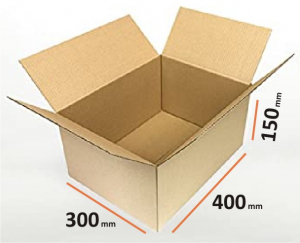 Cutii depozitare carton clasice, 400x300x150 mm, carton Kraft Natur trei straturi (10 BUC/SET, 1000 BUC/PALET)0