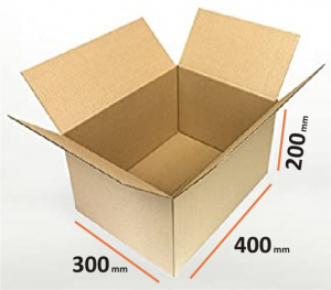 Cutii depozitare carton clasice, 400x300x200 mm, carton Kraft Natur trei straturi (10 BUC/SET, 1000 BUC/PALET)0