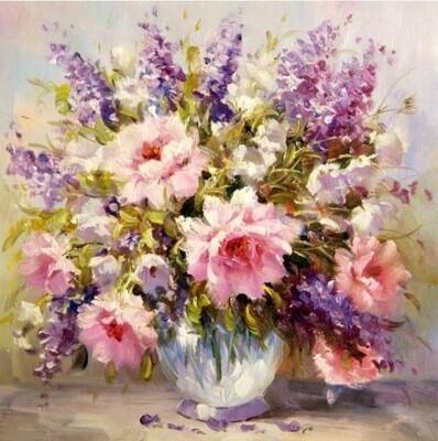 Picturi pe numere adulti - Flori in vaza 0