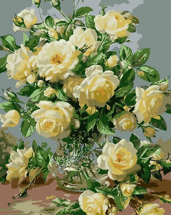 Picturi pe numere adulti - Trandafiri albi 0
