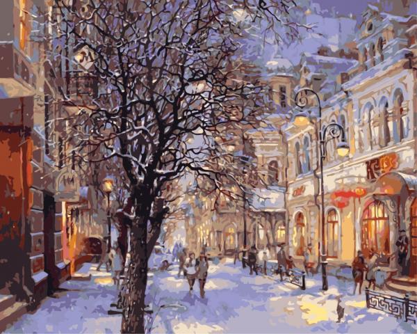 Picturi pe numere adulti - Iarna in oras 0
