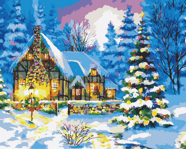 Picturi pe numere adulti - Iarna la cabana 0