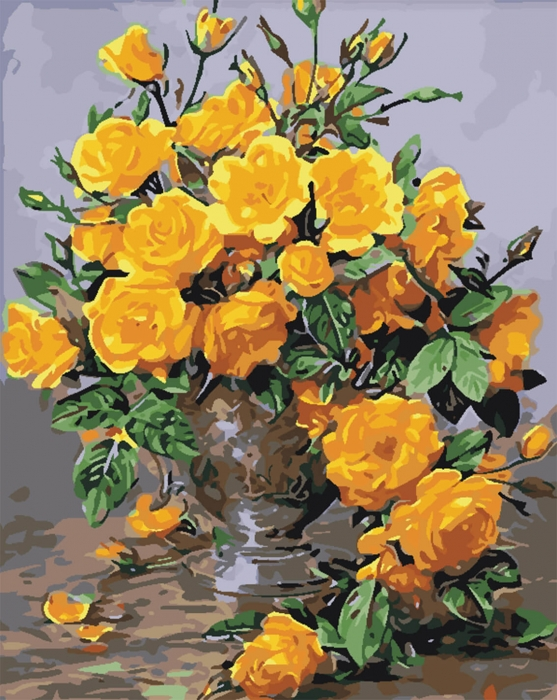 Picturi pe numere adulti - Trandafiri galbeni 0
