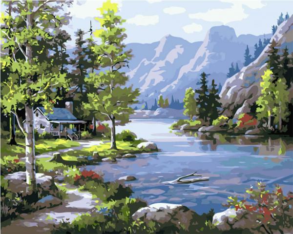 Picturi pe numere adulti - Lac alpin 0