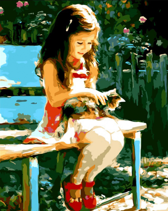 Picturi pe numere adulti - fetita cu pisica 0
