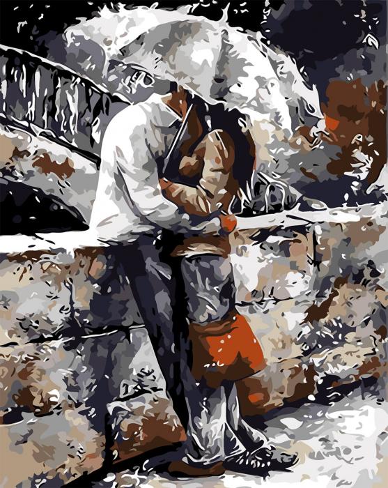 Picturi pe numere adulti - Sarut sub umbrela 0