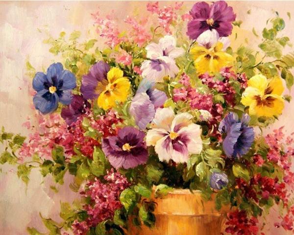 Picturi pe numere adulti - Aranjament floral 0