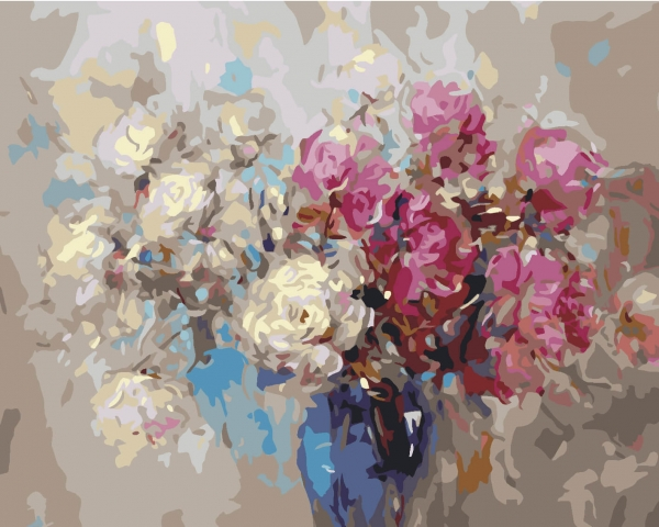 Picturi pe numere adulti - Trandafiri albi si rosii