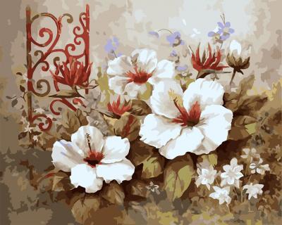 Picturi pe numere adulti - Decor cu flori - (40 x 50 cm)