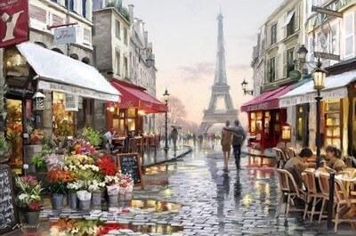 Picturi pe numere adulti - Strada din Paris - (40 x 50 cm)