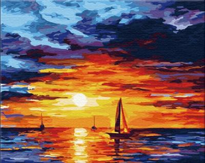 Picturi pe numere adulti - Apus pe mare - (40 x 50 cm)0