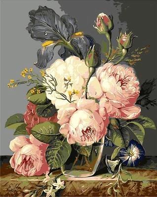 Picturi pe numere- Bujori roz - (40 x 50 cm)