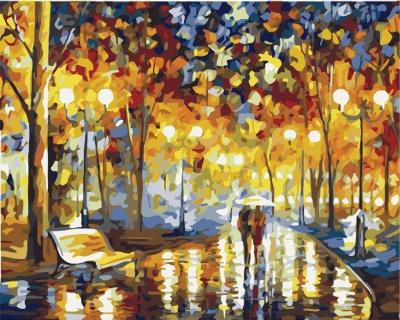 In parc pe inserate - Picturi pe numere - (40 x 50 cm)