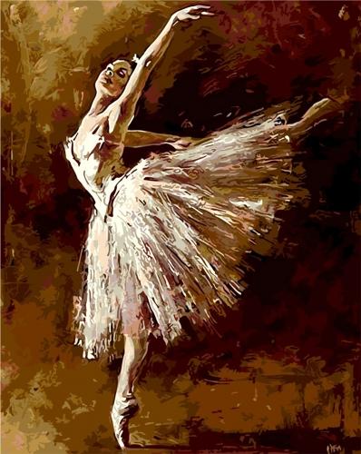 Balerina dansand - Picturi pe numere - (40 x 50 cm)0