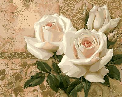 Decor cu trandafiri - Picturi pe numere - (40 x 50 cm)