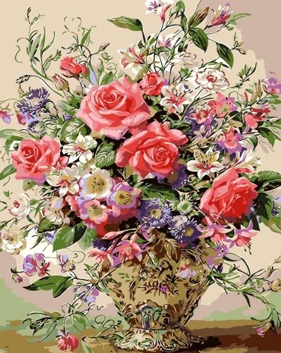Cos cu flori - Picturi pe numere - (40 x 50 cm)