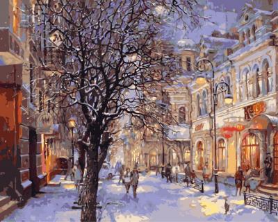 Picturi pe numere adulti - Iarna in oras - (40 x 50 cm)