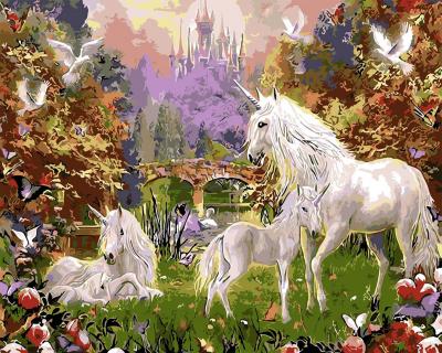 Picturi pe numere - Unicorni - (40 x 50 cm)