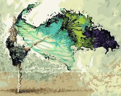 Balerina cu esarfa - Picturi pe numere - (40 x 50 cm)