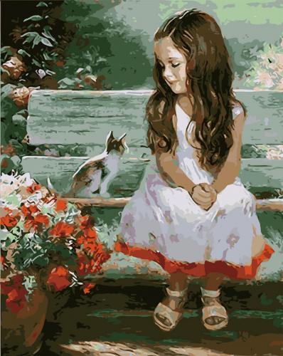 Picturi pe numere - Fetita cu pisica - (40 x 50 cm)
