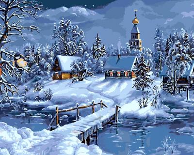 Noapte de iarna - Picturi pe numere - (40 x 50 cm)0