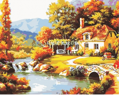 Casa cu leagan - Picturi pe numere - (40 x 50 cm)