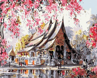 Picturi pe numere - Pavilion in parc - (40 x 50 cm)0