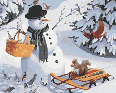 Picturi pe numere - Om de zapada cu sanie - (40 x 50 cm)0