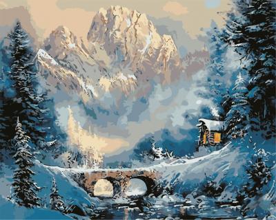 Iarna la munte - Picturi pe numere adulti - (40 x 50 cm)0