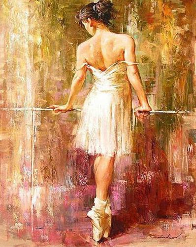 Balerina in sala - Picturi pe numere - (40 x 50 cm)0
