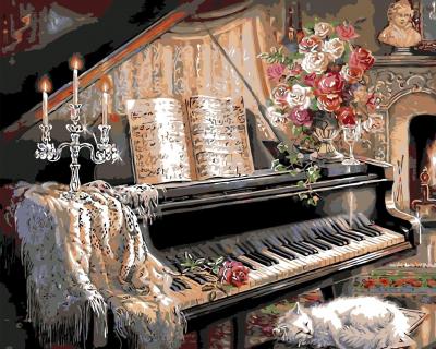 Seara la pian - Picturi pe numere - (40x50)0