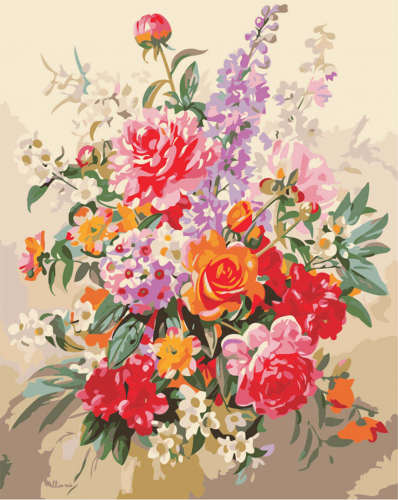Buchet multicolor - Picturi pe numere - (40 x 50 cm)0