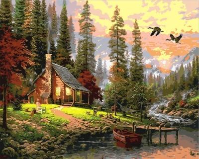 Cabana de munte - Picturi pe numere - (40 x 50 cm)0