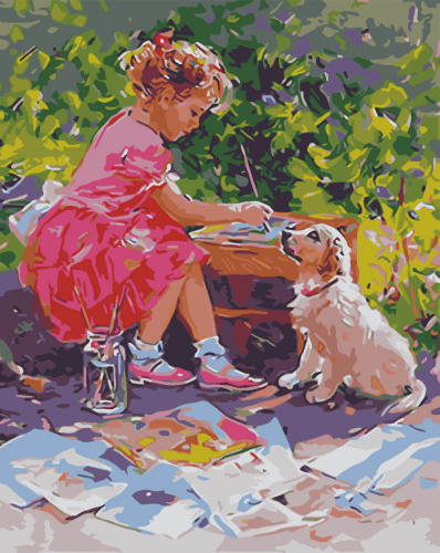 Fetita cu catelul - Picturi pe numere - (40 x 50 cm)0