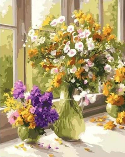Buchete la geam - Picturi pe numere - (40 x 50 cm)