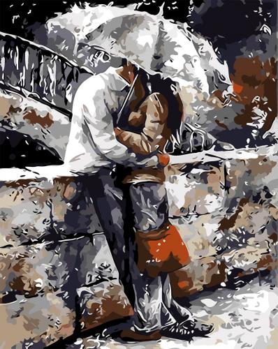 Sarut sub umbrela - Picturi pe numere - (40 x 50 cm)0