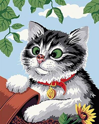 Pisica cu buburuza - Picturi pe numere - (40 x 50 cm)0