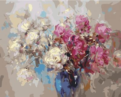 Trandafiri albi si rosii - Picturi pe numere - (40 x 50 cm)