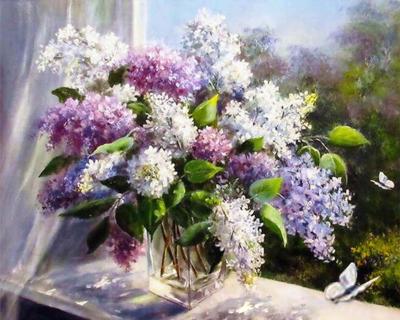 Liliac la geam - Picturi pe numere - (40 x 50 cm)0