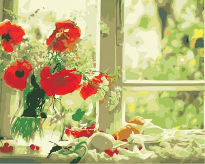 Maci la geam - Picturi pe numere - (40 x 50 cm)
