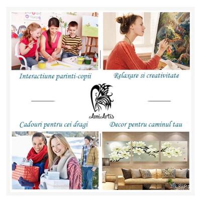 Picturi pe numere - Catel in culori - (40 x 50 cm)